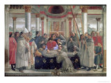 The Death of St. Francis, Scene from a Cycle of the Life of St. Francis of Assisi, 1486 Giclée-tryk af Domenico Ghirlandaio