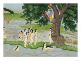 Krishna Steals the Clothes of Gopies, from the Bhagavata Purana, Kangra, Himachal Pradesh, 1780 Reproduction procédé giclée