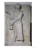 Relief Depicting a Winged Genie, from the Palace of Sargon II at Khorsabad, Iraq Giclee Print by  Assyrian