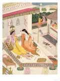 Krishna and Radha on a Bed in a Mogul Palace, Punjab, c.1860 Lámina giclée
