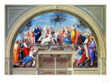 Parnassus and the Disputa, Stanza Della Segnatura, Print by Giovanni Volpato and Raphael Morghen Impression giclée par  Raphael