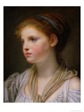 Girl with a Blue Ribbon Giclee Print by Jean-Baptiste Greuze