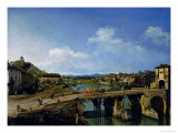 View of an Old Bridge over the River Po, Turin, 1745 Giclee Print by Bernardo Bellotto