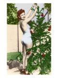 Bathing Beauty with Christmas Tree Poster