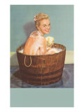 Soapy Blonde in Barrel Tub Poster