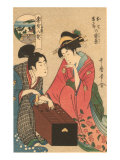 Japanese Woodblock, Geishas Playing Go Posters