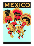 Mexico: 3 Male Dancers with Headdresses Poster