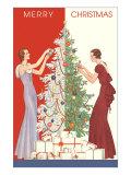 Joyeux Noël, décoration du sapins et cadeaux Affiches