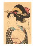 Japanese Woodblock - Portrait of Woman with Fan Prints