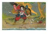 Japanese Samurai, Kikuchi Temitsu Print