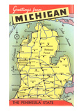 Map of Michigan Posters