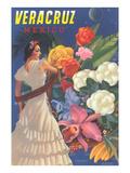 Poster de Veracruz, Mexique, Señorita et fleurs Reproduction giclée Premium