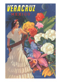 Poster for Veracruz, Mexico, Senorita with Flowers Kunstdruck