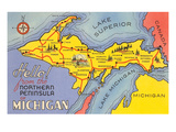 Map of the Upper Peninsula, Michigan Prints