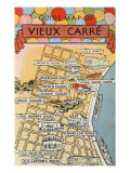 Map of Vieux Carre, New Orleans, Louisiana, Art Print