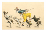 Clown with Dancing Dogs Art