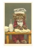 Kitten Making Bread Posters