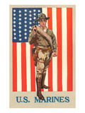 US Marines, Marine in front of Flag with Pistol Umělecké plakáty