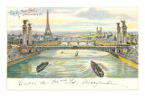 Seine Bridges, Eiffel Tower, Paris, France Prints