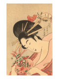 Japanese Woodblock, Lady with Curly Straws Prints