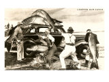 Loading Giant Fish on Car Posters