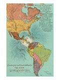 Mapa de los Américanos, Apertura del Canal de Panamá Pósters