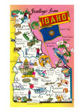 Greetings from Idaho, Map of Highlights Prints