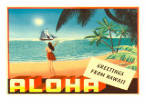 Greetings from Hawaii, Hula Girl on Beach Poster