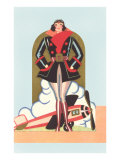 Art Deco Lady Pilot and Airplane Prints