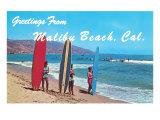 Souvenirs de Malibu Beach, Californie - surfeurs Posters