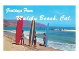 Greetings from Malibu Beach, California, Surfers Posters