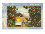 Greetings from California, Train through Orange Groves Prints