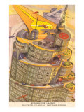 Cylindrical Futuristic French City Prints