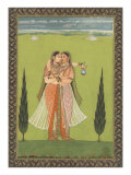 Persian Miniature Lovers Embracing Poster
