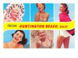 Greetings from Huntington Beach, California, Bathing Beauties Prints