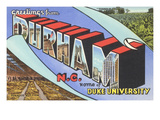 Greetings from Durham, North Carolina Poster