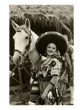 Femme et cheval, Charra mexicain Affiches