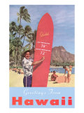 Greetings from Hawaii, Surfboard with Temperature Prints