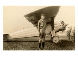 Charles Lindbergh and Plane Art Print