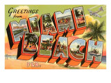 Greetings from Miami Beach, Florida Prints