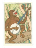 Chimp Playing Banjo Print