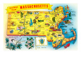 Map of Massachusetts Print