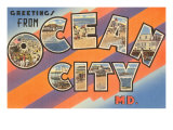 Greetings from Ocean City, Maryland Impressão giclée