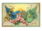 St. Patrick's Day, U.S. and Irish Flags Reprodukcje