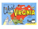 Greetings from West Virginia, Map, Cartoons Posters