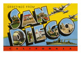 Greetings from San Diego, California Art