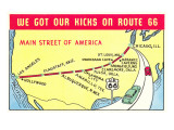 Map of Route 66 Posters