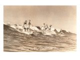 Long Board Surfers off California Prints