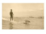 Un chien et son maître sur une planche de surf Affiches