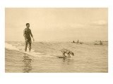 Man Surfing with Dog Poster